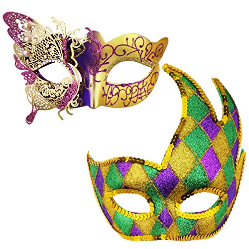 (Couples Masquerade Mask Butterfly Mardi Gras Mask Halloween Venetian Cosplay Costume Party)