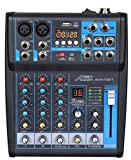 dj computer mixer - Audio2000'S AMX7321 Professional Four-Channel Audio Mixer with Built-In USB Interface to Computer for Recording and Music Playing Applications
