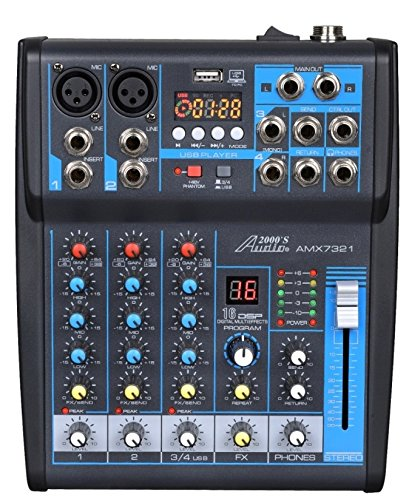 Audio2000'S AMX7321 Professional Four-Channel Audio Mixer with Built-In USB Interface to Computer for Recording and Music Playing Applications