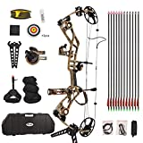 VidaGoods 15lb-70lb Draw Weight 320 FPS IBO Tactical Compound Bow Package Set Combo CNC Milled Machined Aluminum Right Handed
