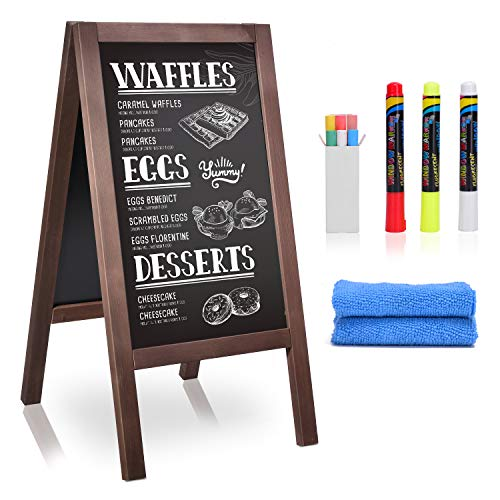 GUOHONG A-Frame Chalk Board,Sandwich Board Sidewalk Sign,40 x 20 Inches Wooden Menu Chalk Board with Cleaning Cloth & 3 Chalk Markers,Outdoor Chalk Board for Wedding,Restaurant or Business.(Classic)