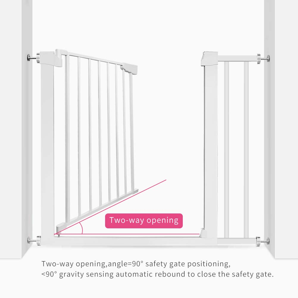 EAVSOW Easy Install 40.6 Auto-Close Pet Safety Gate,Metal Baby Safety Gate for Stairs Banister and Doorway with Pressure Mount Kit