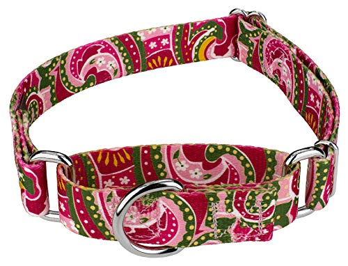 Pink Dog Paisley Collar - Country Brook Petz | Martingale Dog Collar - Five Paisley Collection (Pink Paisley, 5/8 Inch, Small)