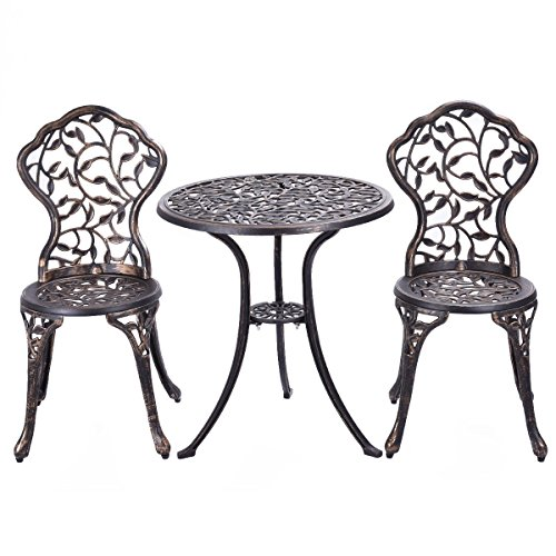 Zurich Set Table (Garden Patio Furniture Outdoor Park Bistro Antique Copper Table Chair Porch Set)