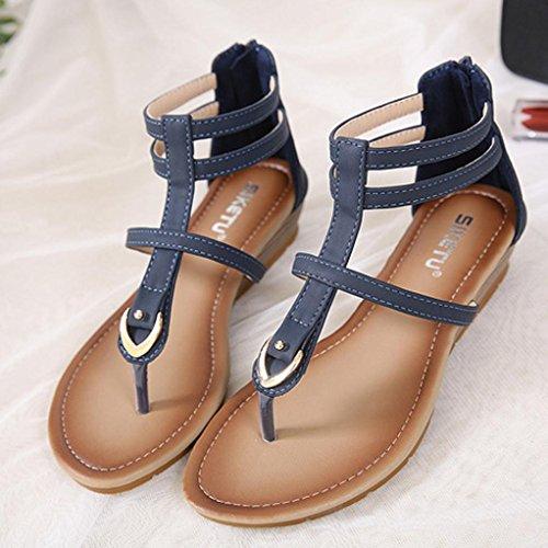 Gladiateur Bride Flops Flip La Chaussures De À Femmes Ouvert Cheville Heel Haute Bout Coin Hlhn Sandales Bleu Romaine À Vintage Bohême Dame 6Fq0vOwX