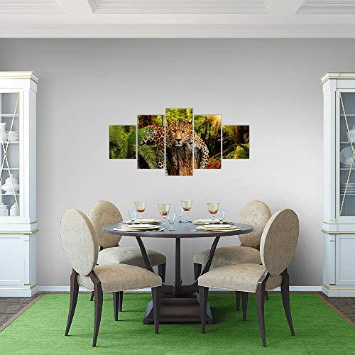 Bilder-Afrika-Leopard-Wandbild-Vlies-Leinwand-Bild-XXL-Format-Wandbilder-Wohnzimmer-Wohnung-Deko-Kunstdrucke-Grn-5-Teilig-MADE-IN-GERMANY-Fertig-zum-Aufhngen-003552a
