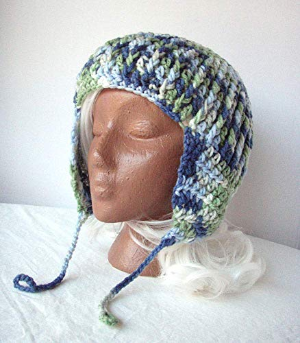 Blue Green Earflap Hat Ooak Convertible Ribbed Crochet Cap Size XL