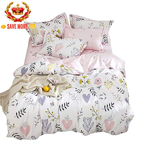 BuLuTu Floral Love Print Girls Duvet Cover Twin White/Pink Cotton Premium Blossom Kawaii Reversible Colorful Kids Bedroom Comforter Cover Bedding Sets for Teen Toddler,Lightweight,Zipper,NO Comforter