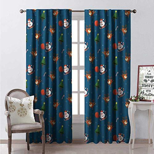 - Hengshu Christmas Room Darkening Wide Curtains Cheerful Doodle of Santa Reindeer and Xmas Tree Continuous Pattern Print Waterproof Window Curtain W108 x L84 Dark Sky Blue