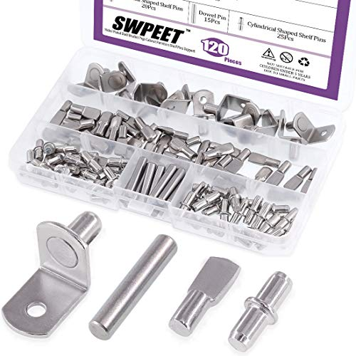- Swpeet 120Pcs 4 Styles Shelf Pins Kit, Top Quality Nickel Plated Shelf Bracket Pegs Cabinet Furniture Shelf Pins Support for Shelf Holes on Cabinets, Entertainment Centers