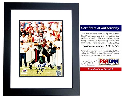 (Trent Dilfer Signed - Autographed Tampa Bay Buccaneers Bucs 8x10 inch Photo - BLACK CUSTOM FRAME - PSA/DNA Certificate of Authenticity (COA))