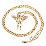 Men's Gold Plated Angel Micro Pendant Iced Out Iron Rope Chain 3mm 30' Hip Hop Bling Necklac