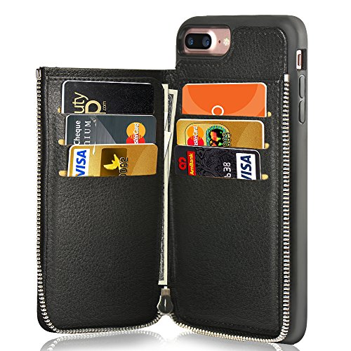 Case, iPhone 8 Plus Leather Case, LAMEEKU Shockproof Apple 7 Plus Credit Card Holder Slot Cases with Zipper Wallet, Protective Cover for Apple iPhone 7 Plus/8 Plus - Black ()