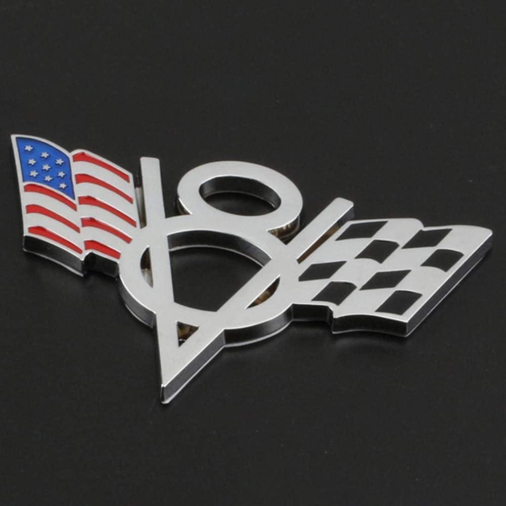 Silver 2Pcs Metal V8 Emblem Badge USA American Flag Car Trunk 3D Emblem Badge Sticker Decal for Ford Chevrolet Chevy Corvette