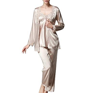 c8851c86150d8 Trois-pièces Chemises de Nuit Femmes Satin Pyjama Femme Dentelle Pyjama  Sexy Femme Chic sans Manche  Amazon.fr  Vêtements et accessoires