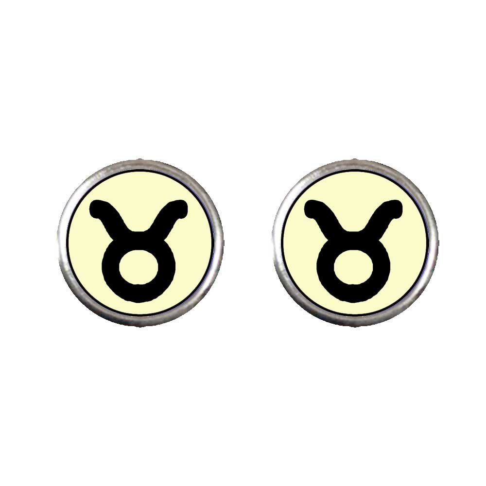 GiftJewelryShop Silver Plated Taurus Zodiac Photo Stud Earrings 10mm Diameter