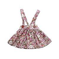 Fenleo Newborn Baby Girls Floral Print Jumper Dress Suspender Skirts Pinafore Tutu Dress