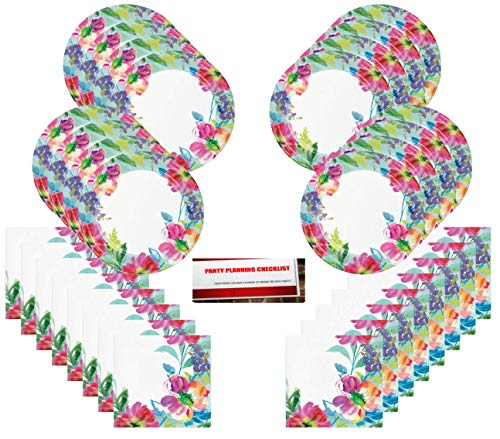 Painterly Artistic Floral Premium Party Supplies Bundle Pack for 16 (Plus Party Planning Checklist by Mikes Super -