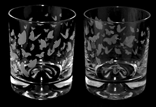 Butterfly Frieze - boxed pair of whiskey tumbler glasses ...