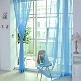 Voile Curtain, Joopee 1 PCS Pure Color Tulle Door Window Curtain Drape Panel Sheer Scarf Valances (1PC, K)