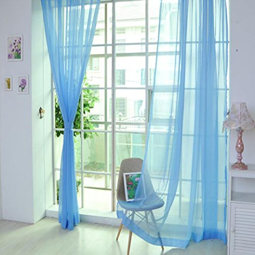 Voile Curtain, Joopee 1 PCS Pure Color Tulle Door Window Curtain Drape Panel Sheer Scarf Valances (1PC, K) by Joopee (Image #2)