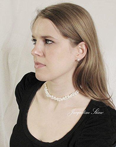 Viona-courte ras du cou perle d'eau douce-3brins