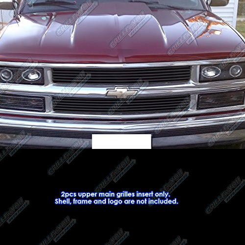 APS Compatible with 1994-1999 Chevy Blazer/C/K Pickup/Suburban/Tahoe Black Billet Grille Grill Insert -