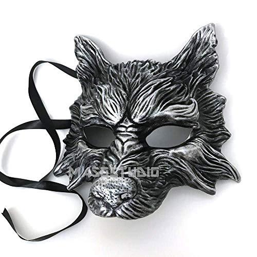 Wolf Masquerade Mask (MasqStudio Black Silver Wolf Mask Animal Masquerade Halloween Costume Cosplay Party)