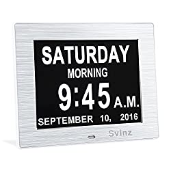 SVINZ NEW Dual Alarm Clock Day Clock Digital Calendar - Extra Large Non-Abbreviated Day & Month - Excellent for Impaired Vision - Brushed Silver - SDC006
