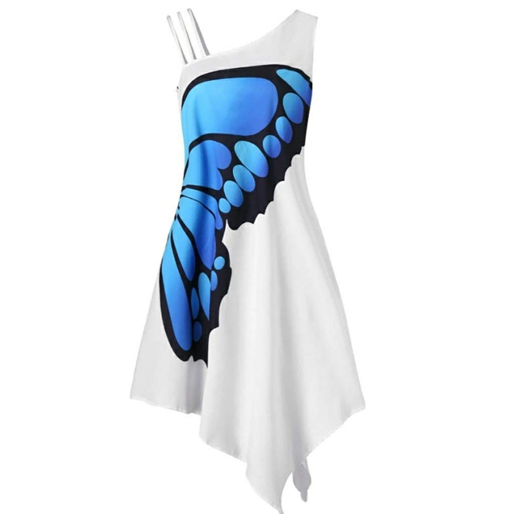 Women Dress GREFER Women's Casual Butterfly Print Mini Dress Sleeveless Loose Irregularity Dress Blue