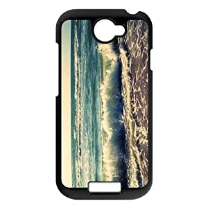 HOT phone cases For black plastic HTC ONE S case with Retro Look Beach Waves Pattern at Run horse store
