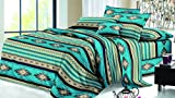 Rustic Western Southwest Native American Design 4 Piece Comforter Set Navajo Print Multicolor Turquoise Blue Ivory and Black 17426 Queen Turquoise Comforter Set