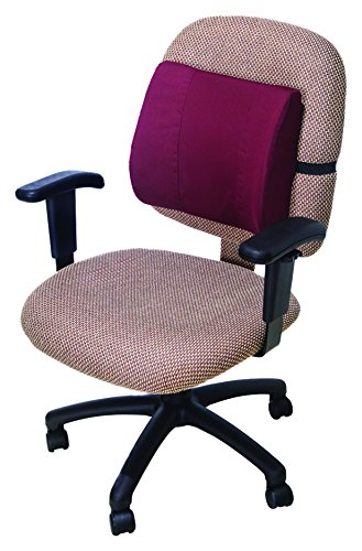 Essential Medical Supply Molded Lumbar Cushion with Elastic Positioning Strap in Burgundy by Essential Medical Supply