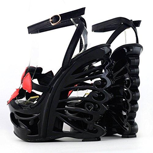 novia mariposa historia Mostrar fabulosa sandalias LF51804 de forma tacón plataforma corazón en cuña negro de xZgwAfgq