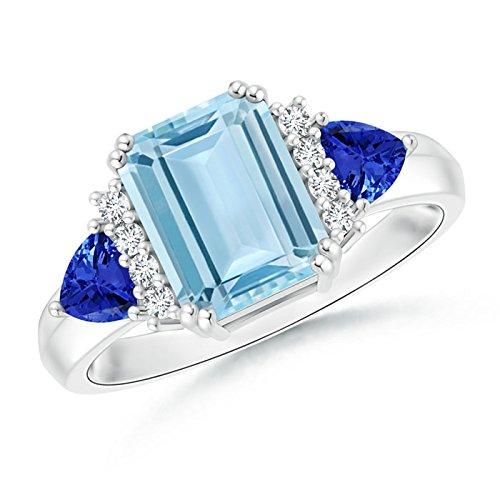 Emerald Cut Aquamarine Trillion Tanzanite 3 Stone Ring for Women in Platinum (9x7mm Aquamarine)
