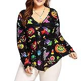 Plus Size Womens Halloween V Neck Pumpkin Skull Printed Hem Irregular Shirt Tops