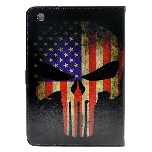 iPad Mini 1/2/3 Case, American US Flag Skull Superhero Pattern Leather Flip Slim Book Shell Stand Case Cover for ipad Mini 1 2 Retina ipad Mini 3 (American Flag I Pad Mini Case)