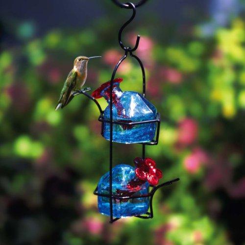Parasol LP2B Lunch Pail Blue 2-Station Blown Glass Hummingbird Feeder