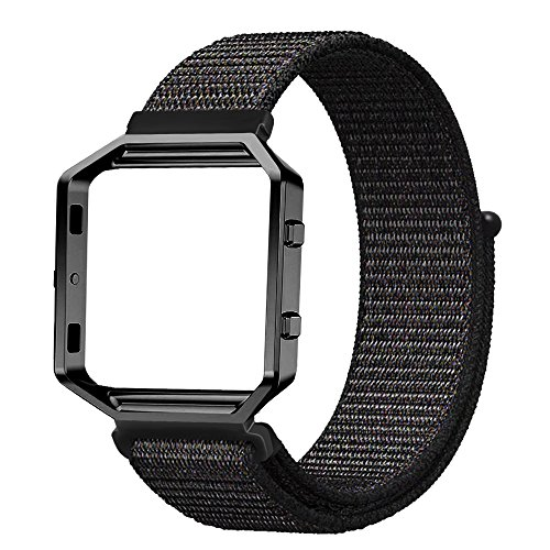 Fintie for Fitbit Blaze Bands with Metal Frame Housing, Nylon Sport Loop Band Replacement Strap Wristbands with Adjustable Closure for Fitbit Blaze Smart Fitness Watch, Black