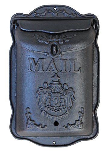 - Lockable Wall Mounted Mailbox - Cast Iron Vintage Residential Mail Box - Crest Design Heavy Duty Weatherproof Letter Box