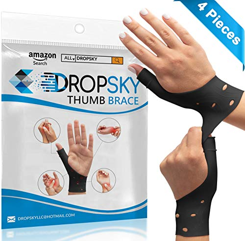 DropSky [4pcs] Gel Wrist Thumb Support Braces Soft Waterproof Breathable