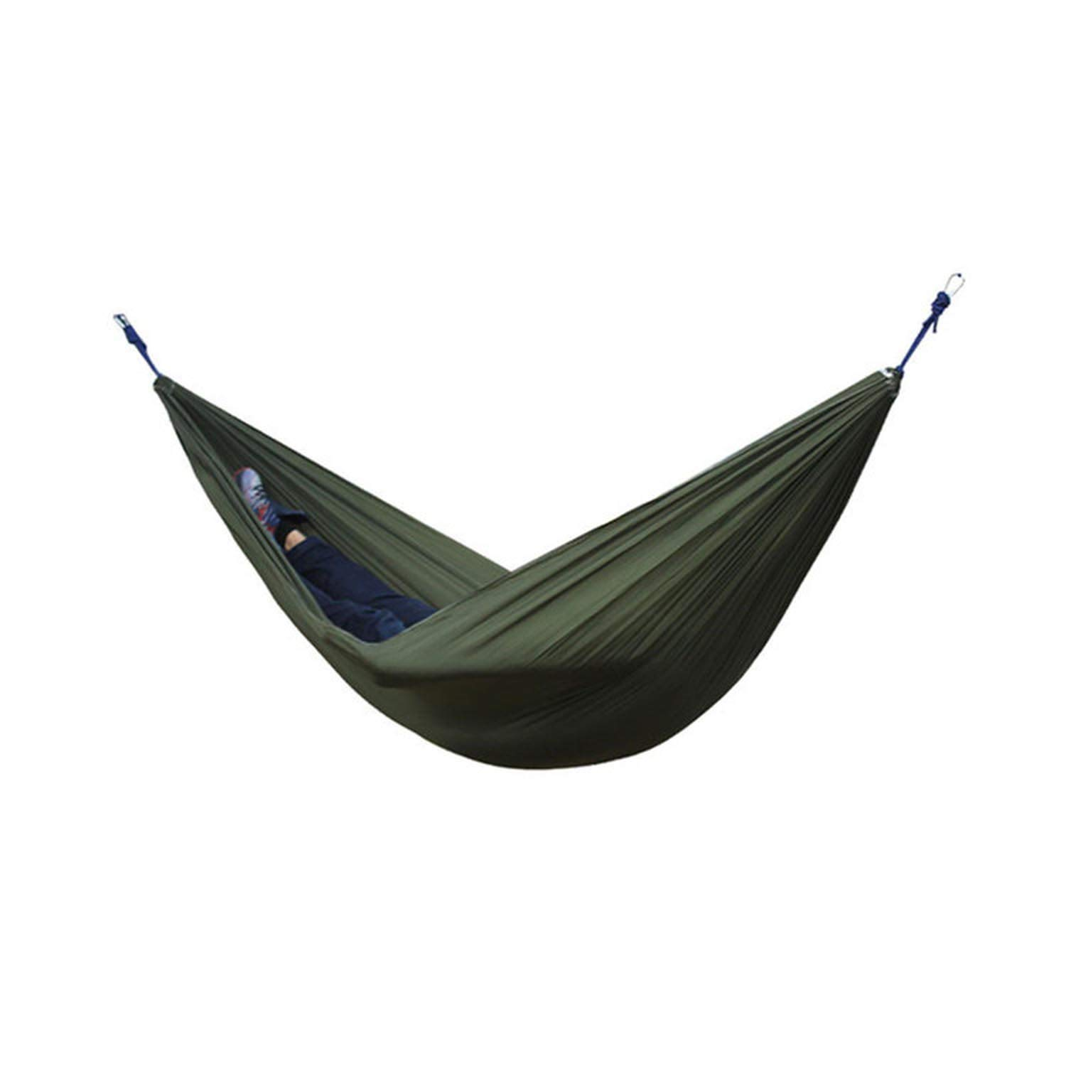 Army green 18 Single Double Hammock Adult Outdoor Backpacking Travel Survival Hunting Sleeping Bed Portable with 2 Straps 2 Carabiner