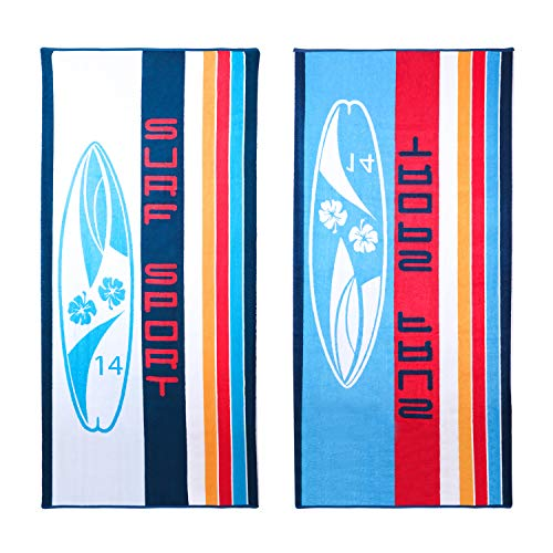 """Henbay Oversized 100% Cotton Beach Towel 67""""x31"""" for Swimming, Camping and Picnic (Surfboard (2 Pack))"""