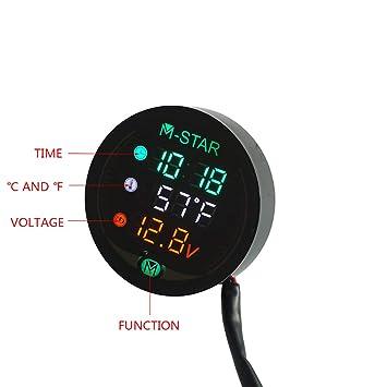 ... visión nocturna a prueba de agua Pantalla digital Voltímetro Voltaje Volt Temperatura Indicador Tiempo LED 3 en 1 Cyclist store: Amazon.es: Coche y moto