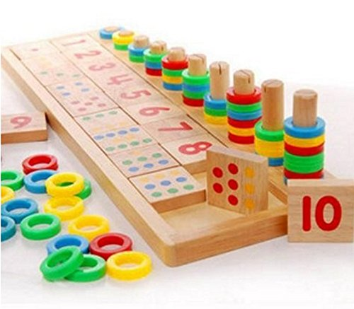 Montessori Rainbow Rings Dominos Children Preschool Teaching Aids Counting and Stacking Board Wooden Math Toy (Gun Glass Bottle)