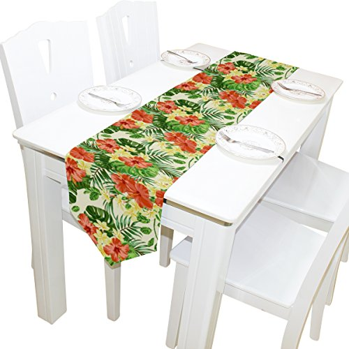 Yochoice Table Runner Home Decor, Vintage Hawaiian Plumeria and Hibiscus Flowers Table Cloth Runner Coffee Mat for Wedding Party Banquet Decoration 13 x 70 inches]()