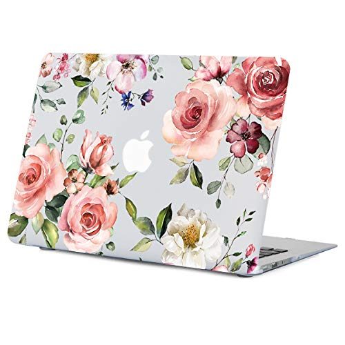 Flower MacBook Air 13.3 Inch Case, Pink Watercolor Rose Flower Clear Case Fit MacBook Air 13.3 Inches Model:A1466 A1369, Matte See Through Soft-Touch Hard Shell with Keyboard Cover Release 2010-2017