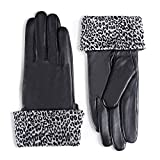 YISEVEN Women's Touchscreen Sheepskin Cuffed Leather Gloves Diva Stylish Hand Warm Fleece Fur Lined Red Cuff Ladies Winter Luxury Evening Dress Party Driving Xmas Gifts, Black 7.0''/Medium