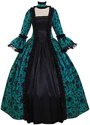 I613 Girls Sweet Lolita Gothic Dress Princess Lace Court Skirts Cosplay Costumes Womens Vintage Renaissance Costume