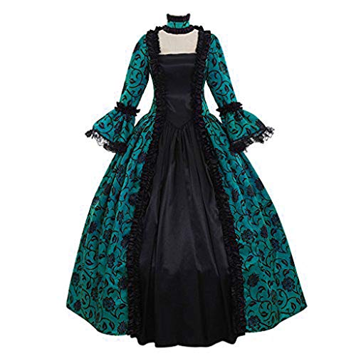 Goth Princess Costume (Women Dress Retro Medieval Costumes Fancy Party Princess Renaissance Cosplay Lace Long Sleeved Dress (Green -4,)